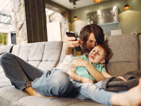 mother-and-little-son-sitting-and-watching-tv
