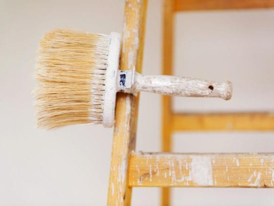 home-renovation-brush-on-a-ladder