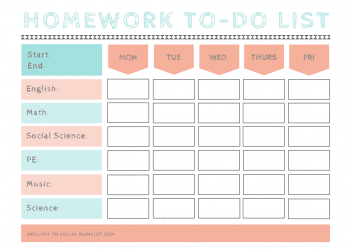 Homework To-Do List from Momalot-min